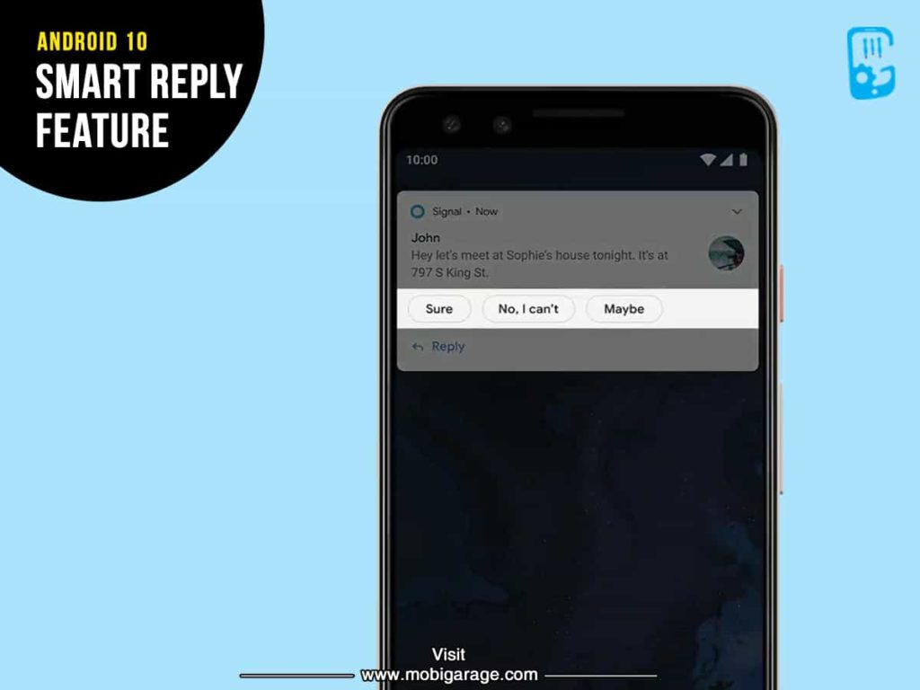 Android 10 Smart Reply Feature | MobiGarage